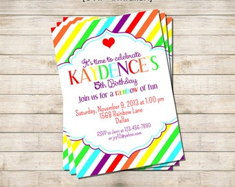 "5"" x 7"" Invitation Printable - Rainbows & Hearts Party Collection"