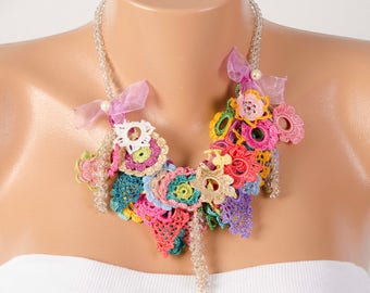 Crochet jewelry bip necklace fiber necklace