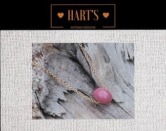 Pink Moukaite Pendant 14K Gold Necklace