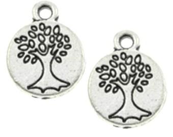 12pc 15mm antique silver finish metal tree pendants-7227n