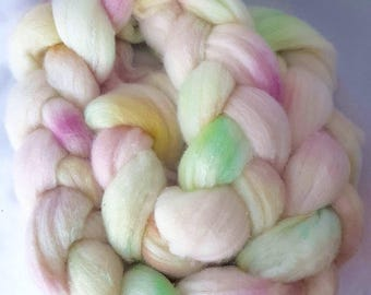 Hand Painted Supersoft Merino and Tussah Silk 80/20 Roving 100G Pink Dawn