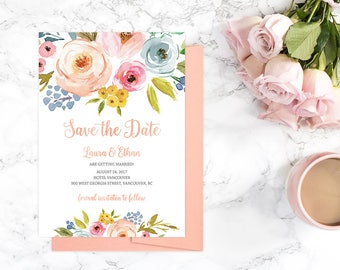 Peach Save the Date Card, Printable Peach Save the Date Cards, Peach Floral Wedding Save the Date, Custom Floral Save the Date Cards