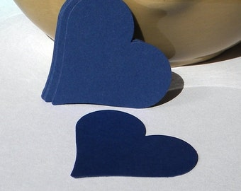 12 heart tags - navy blue heart punches - heart embellishments - scrapbook supplies - card making - cupcake toppers - paper hearts