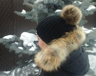 Handmade black hat with racoon Fur Pom Pom pom-ready to ship