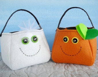 Toy Sewing Pattern for Ghost, Spider and Pumpkin Treat Bags - PDF ePATTERN