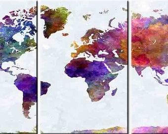 Colourful World Map 3 Panels, Digital Print, Wall Art