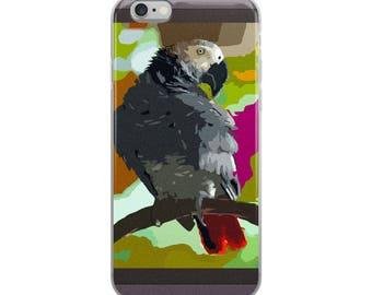 African Grey Parrot in Vibrant Jeweltones- iPhone Case