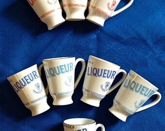 Vintage Set of 7 Johan Becher Karlsbad Becher Liqueur shot glasses +Karlsbader Becherbitter shot glass,