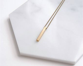 Vertical Bar Necklace. Minimal Layering Necklace For Her. Geometric Jewelry Gift For Men. Simple Long Gold Bar Pendant. Minimalist Guy Gift.