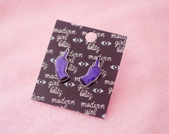 Little Middle Finger Earrings in Purple