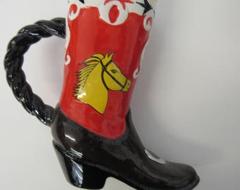 Ceramic Cowboy Boot Planter