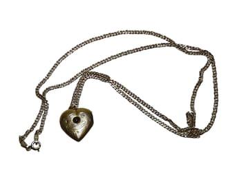 """Antique Vinaigrette Hallmarked Heart Chain Pendant Collectible Silver 875 Old Decorative Design Russia 1920-s 1.10""""x0.87"""""""