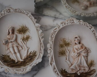 Porcelain Lefton china couple wall plaques