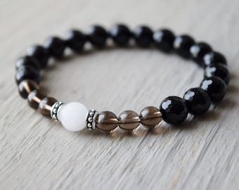 Zen bracelet, nature jewelry, Chinese brush painting inspired Zen jewelry, mala beads, self healing, self-acceptance