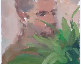 original portrait- fern painting /  contemporary art by Michelle Farro