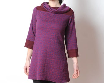 Purple tunic top - Dark red and blue jersey tunic - geometric patterned jersey, Womens tunics, MALAM