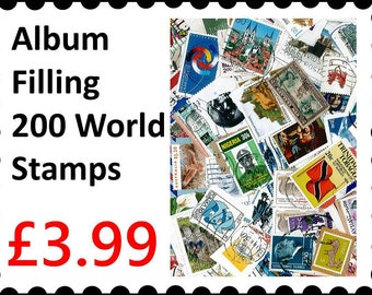 200  Stamps : Album filling 200 Different Mixed world Stamp Collection FREEPOST