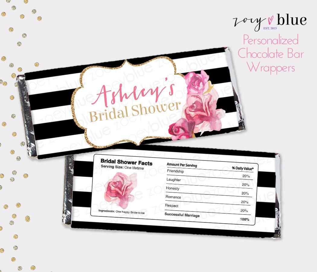 Black White & Gold Bridal Shower Chocolate Bar Wrapper