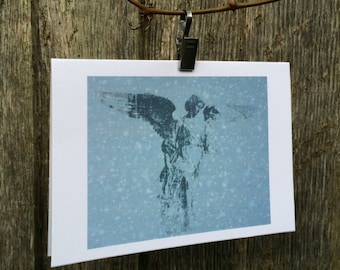 Angel Statue, Central Park Christmas Card New York in the snow
