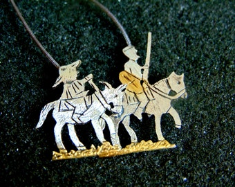 Sterling Silver Necklace,Silver 925 and Gold Plated Silver Charm Necklace,Don Quixote Necklace for Women,Unique Fairy Tale Jewelry,