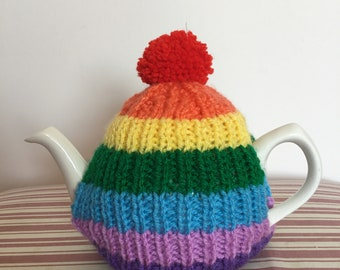 Hand Knitted Rainbow Bright Tea Cosy (Small Tea Pot) - also available in other colours / sizes on request