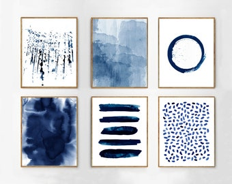 Wall art Set of 6 Prints Navy Abstract Watercolor Paintings Indigo Blue Dots Stripes Splatter Minimalist art Coastal Boho Beach Modern art
