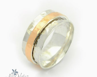 Gold spinner ring - Comfort Fit ring - Spinner wedding ring - Concave Spinner ring - Shiny wedding band - silver and gold ring