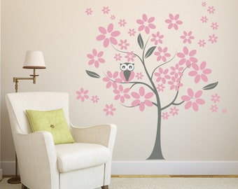 Wall Decals Flowers Tree with Owl Wall Decal