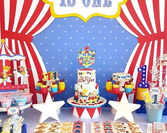 DIGITAL FILE Party Kit Carnival Animals Decorations Party Kit, Circus Party Decorations, Carnival Circus Birthday, Carnival Theme