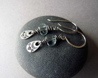 Aquamarine Earrings, Gemstone Earrings, Wire Wrapped Earrings, Moss Aquamarine, Dainty Earrings, March Birthstone, Unique Earrings, Stamped