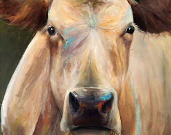 Cow Painting - Bridget - Paper print of an original painting by Cari Humphry