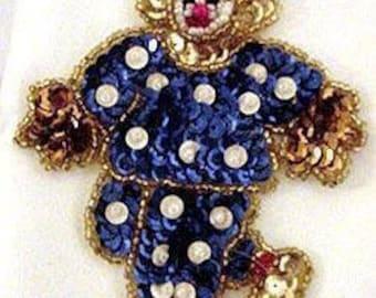 Sequins & Beaded Blue White Polka Dot Clown (Small) Applique