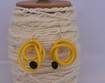 Yellow quirky Knitting needle earrings, vintage knitting needle  earrings, quirky earrings handmade from vintage knitting needles