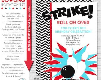 Bowling Party Invitation | Bowling Birthday Invitation | Bowling Invitation | Teen Birthday Invitation | Adult Birthday | Amanda's Parties