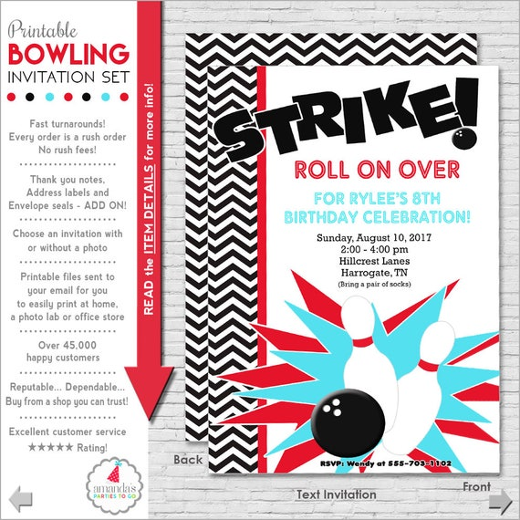 Bowling party invitation bowling birthday invitation stopboris Images