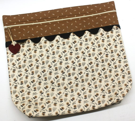 MORE2LUV Prim Straw Flowers Cross Stitch Project Bag
