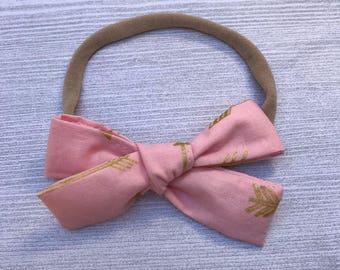 Pink Arrow Schoolgirl Bow, Baby Headband, Pink Bow Headband, Nylon Headband, Baby Girl Headband, Baby Accessories, Baby Bow Headband