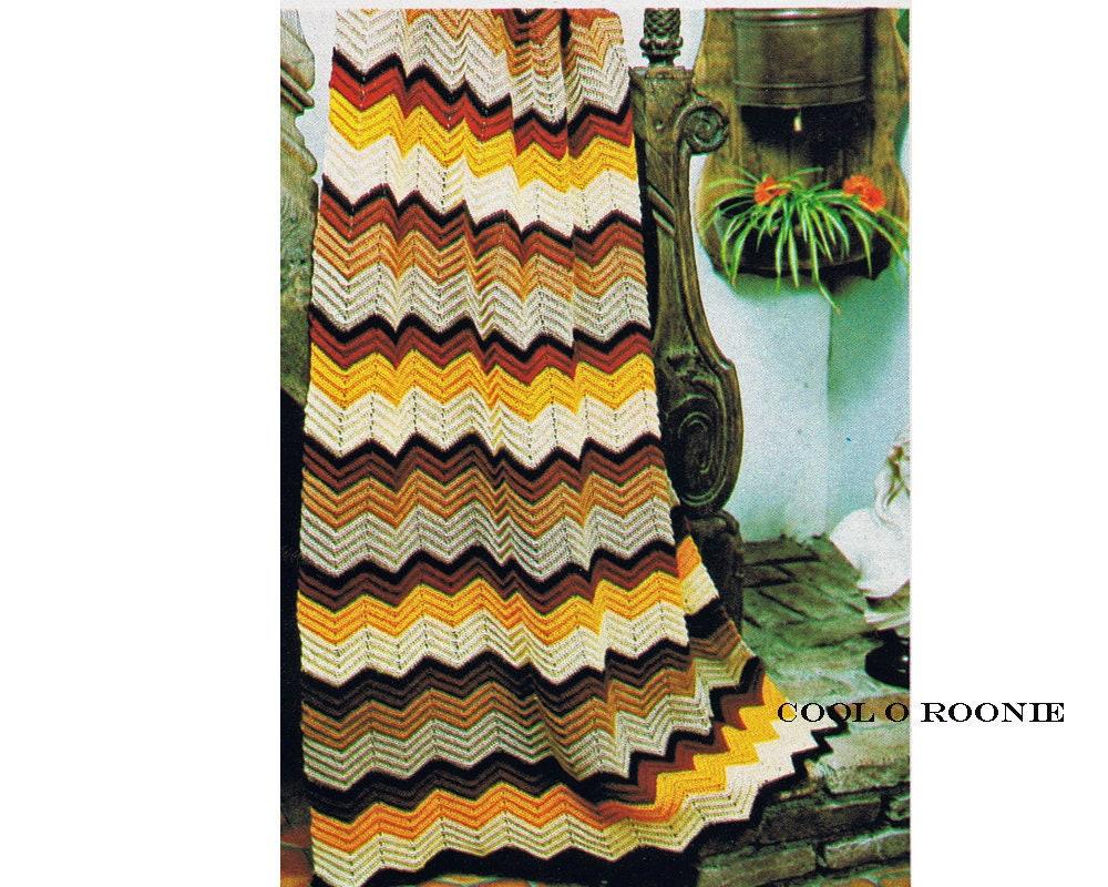 Vintage Ripple Crochet Afghan Pattern Easy to Follow Beginners ...