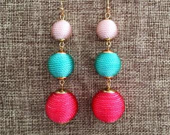 Triple Ball Earring - Thread Wrapped Earring Dangle Earring Bon Bon Earring