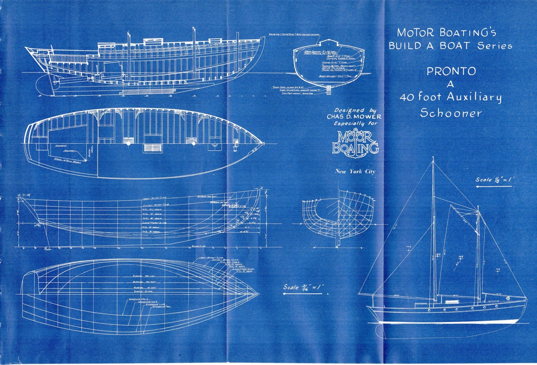 Antique Blueprint Vintage Ship Blueprint c.1940s Boat Sailing ...
