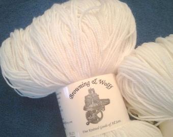 Merino Superwash Sock Yarn - Natural White - 100g Skein