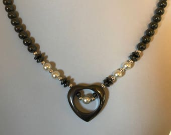 Handmade Hematite Open Heart Necklace with White Pearl Accents