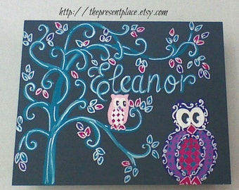 Hand painted owl themed keepsake box in charcoal gray, pinks, purples and teal,owl theme,owl keepsake box,kids boxes,childrens boxes