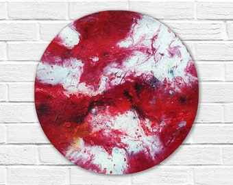 Original abstract painting on canvas, round painting, original painting, small painting, Abstract Wall Art, fluid painting