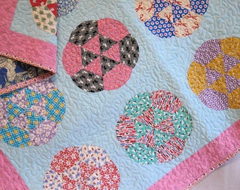 Baby Girl Crib Quilt -  Feedsack Flowers Quilt -  Scrap Quilt - Large Quilted Table Topper