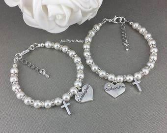 Set of 2 Bracelets for Godmother Goddaughter Gift First Communion Gift Cross Charm Bracelet Girl Baptism Gift Godmother Jewelry