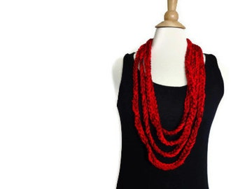 Crochet infinity scarf necklace, crochet necklace, lightweight cowl, red cowl, red necklace, infinity loop scarf, mothers day gift