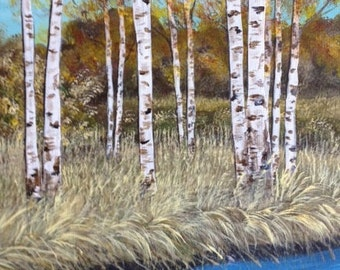 Aspens by the river, Forest of Aspens, Birches by a stream, Forest of birches, Forest Landscape, Aspen Painting, Aspen Forest, Aspen Trees