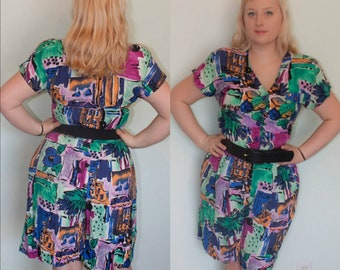80s Romper 1980s Does 40s 1940s Mulit Color Bright Rayon Novelty Print Pockets Casual Pinup Summer Size L XL Plus