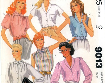 McCall's 9013 Blouse Top Shirt Bow Size 14 Uncut Vintage Sewing Pattern 1984 1980s